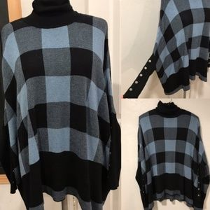 LUXE SWEATER PLAID PONCHO LONG SLEEVE SWEATER